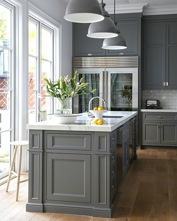 white gray kitchen 2. I especially love when the upper cabinets are lighter and base or  island charcoal And those floors in this first kitchen Gorgeous Gray Kitchens Bathrooms with Modern Painted
