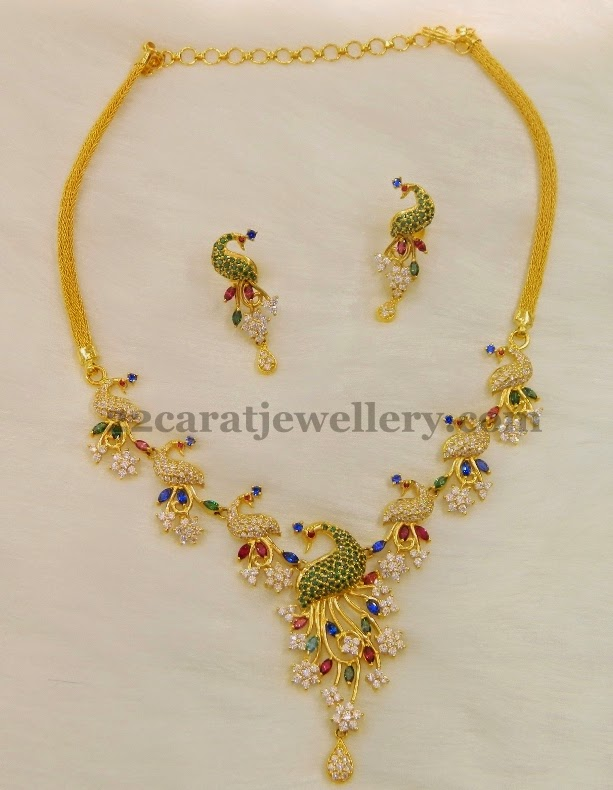CZ Peacock Floral Necklace Jewellery Designs