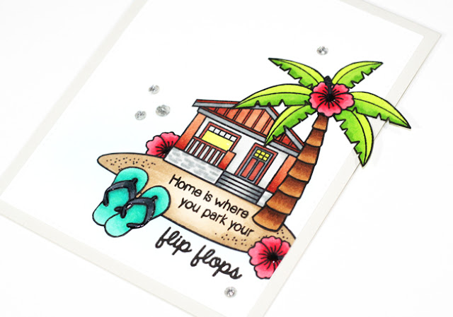 Sunny Studio Stamps: Island Getaway and Happy Home Beach Bungalow card by Stephanie Klauck.