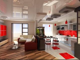 sala y cocina mismo ambiente