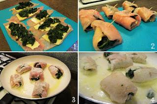 foto preparazione Ricetta involtini di tacchino con bietole e formaggio per bambini