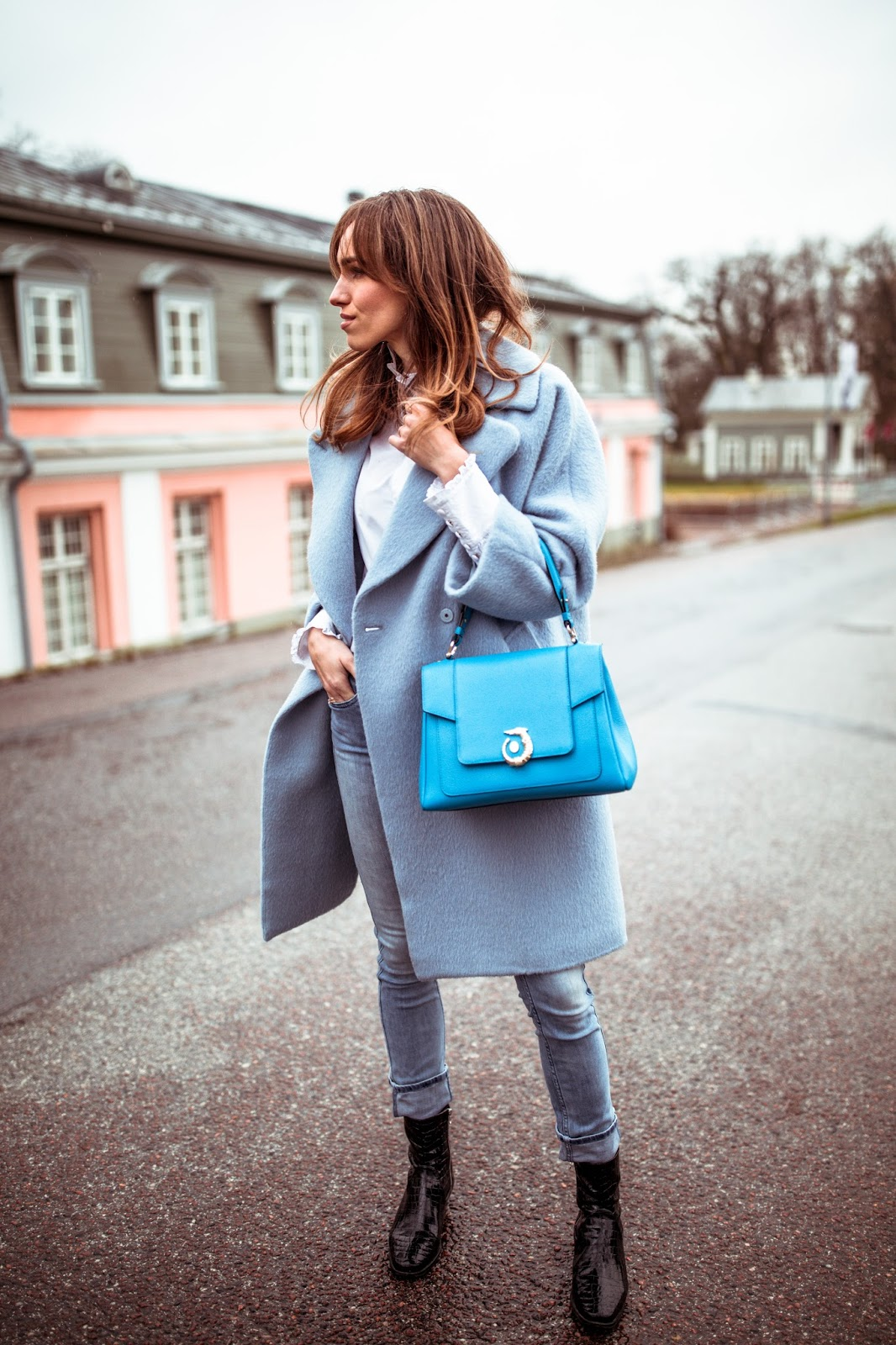 blue coat jeans fall street style