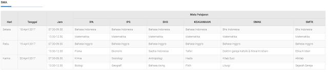 Jadwal UNP SMA