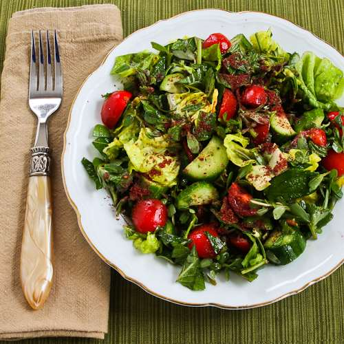 Mediterranean Lettuce Salad Recipe with Purslane, Mint, Tomatoes, Cucumbers, and Sumac-Lemon Vinaigrette found on KalynsKitchen.com