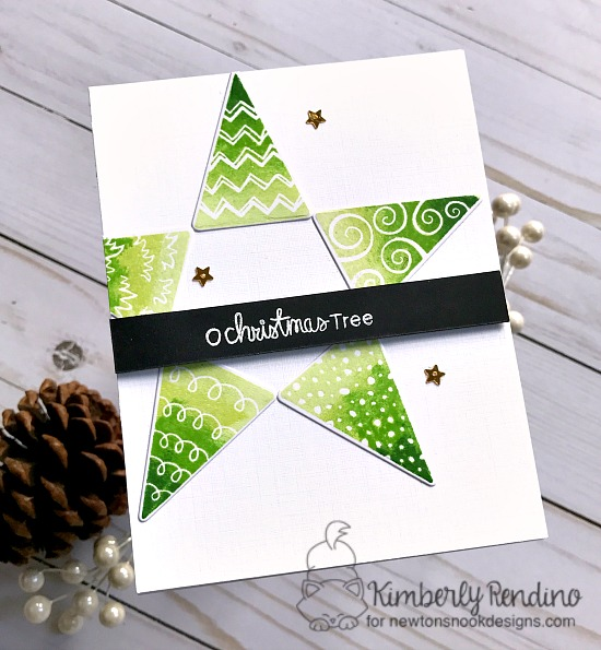Christmas Tree Card Star card by Kimberly Rendino | Festive Forest Stamp Set by Newton's Nook Designs #newtonsnook