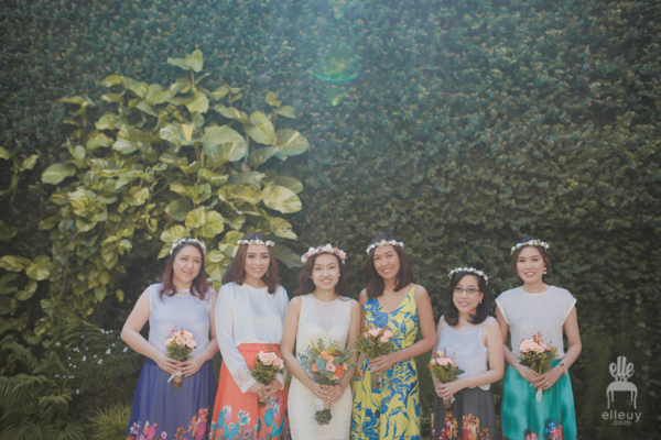 bohemian bridesmaids, colorful entourage, floral crown wedding, liz uy, floral skirt