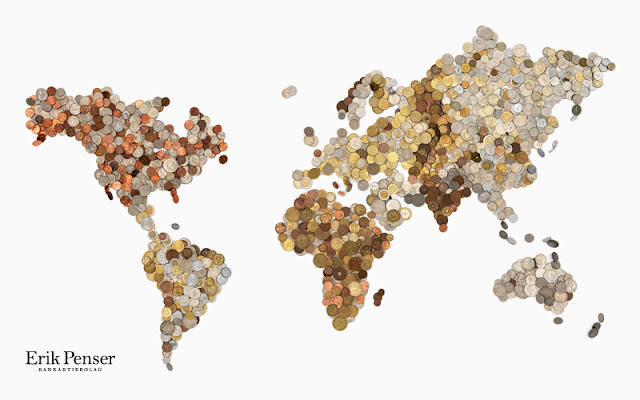 World Map Made of Coins