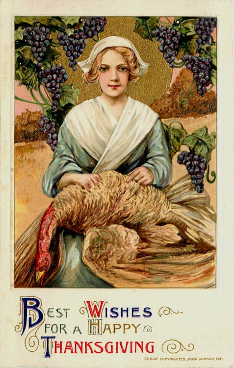 Best wishes for a Happy Thanksgiving. Vintage postcard 1911. A Pilgrim girl plucks a turkey. Was She on the Mayflower and other stories of giving thanks. marchmatron.com
