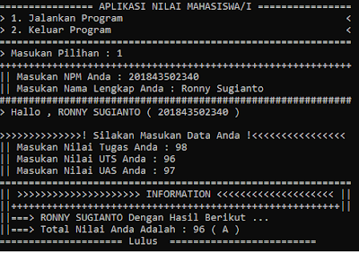 Contoh Program Sederhana - Nilai ,Grade , Dan Kelulusan Mahasiswa (Function IF , UpperCase , Label)