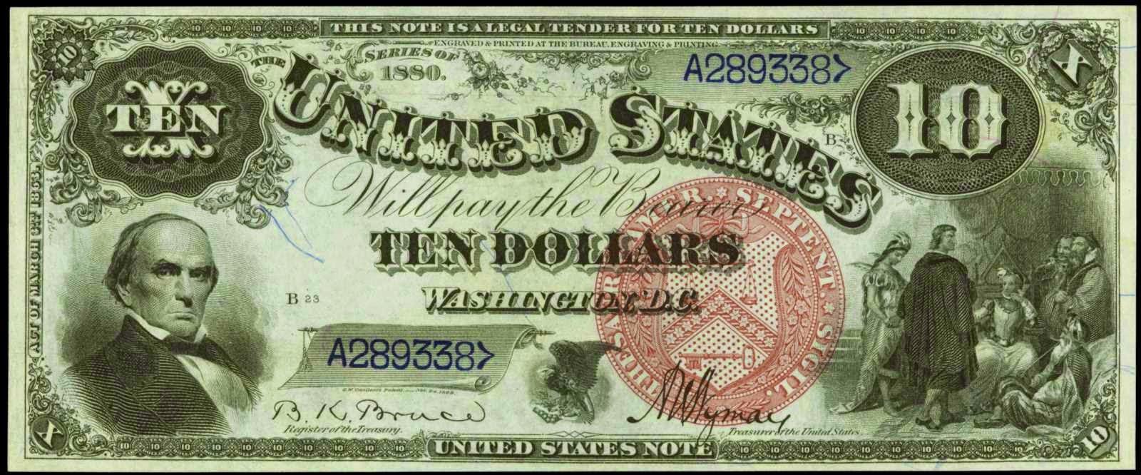 US currency 1880 Ten Dollar bill Jackass Note