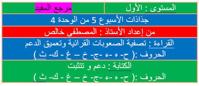 جذاذات الأسبوع 5  تقويم ودعم الوحدة الرابعة  المستوى الأول مرجع المفيد في اللغة العربية
