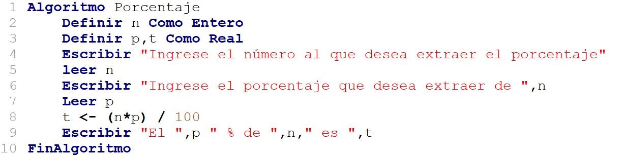 algoritmo que calcula el porcentaje de un número dado