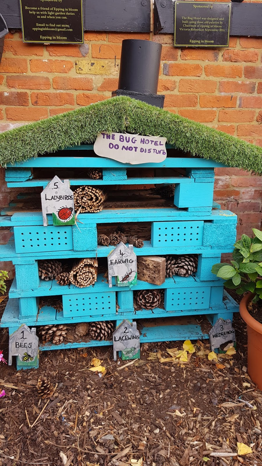 Children's bug hotel at Epping community garden in Essex, as featured in Is This Mutton's Sentence a Day for October.