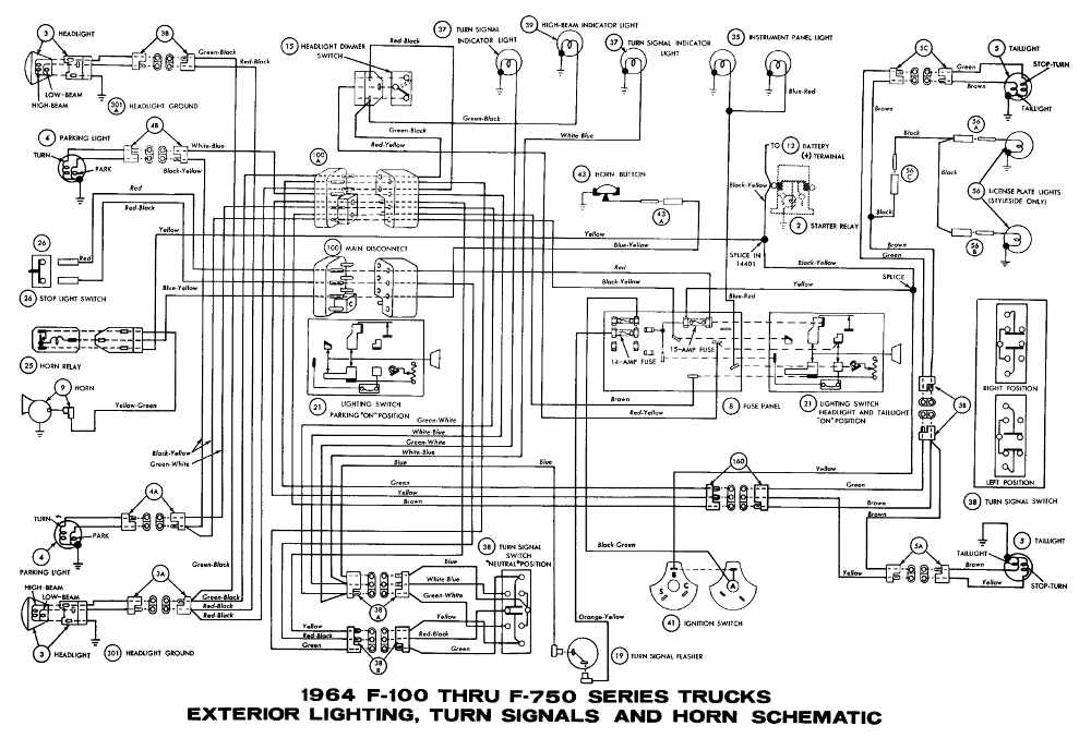 ford f-100 through f-750 trucks 1964 exterior lighting ... ford f 250 turn signal wiring diagram
