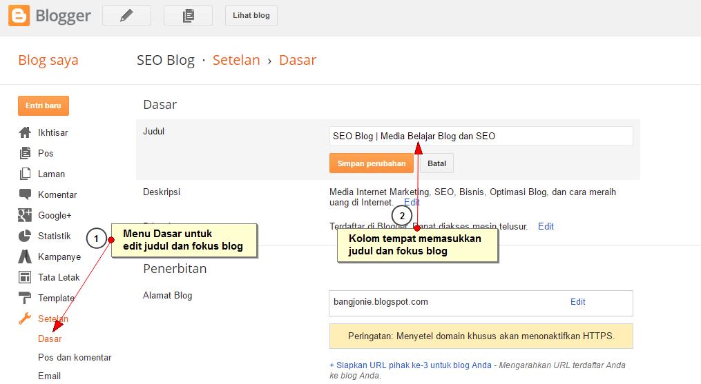 Cara membuat judul blog di Blogger | SEO Blog