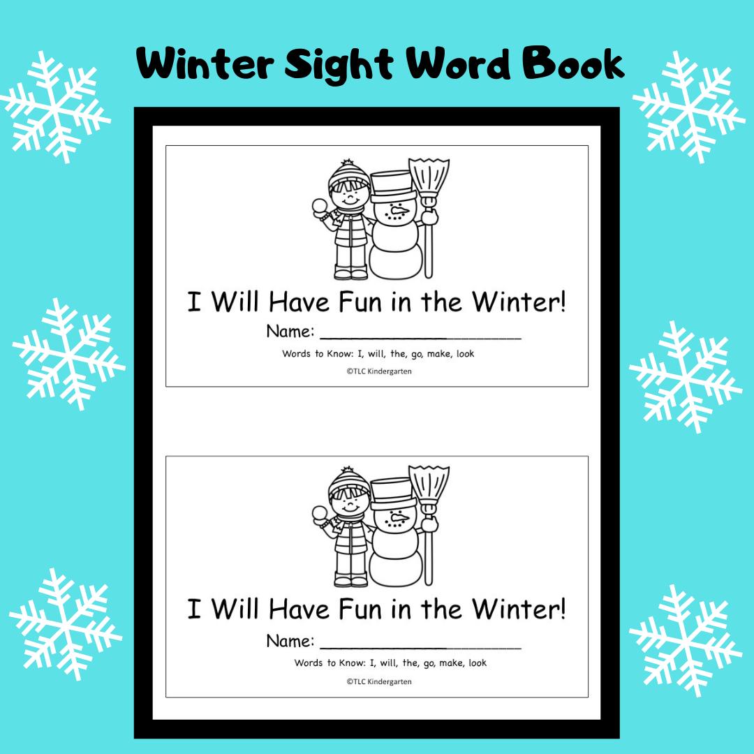 Tlc Kindergarten Winter Sight Word Book