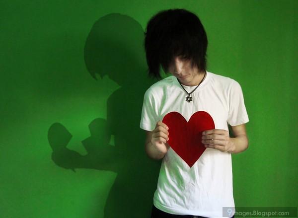 Shadow heart emo boy sad broken heart cute