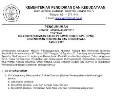 Resmi Pembukaan CPNS September 2017