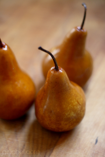 spice-poached pears