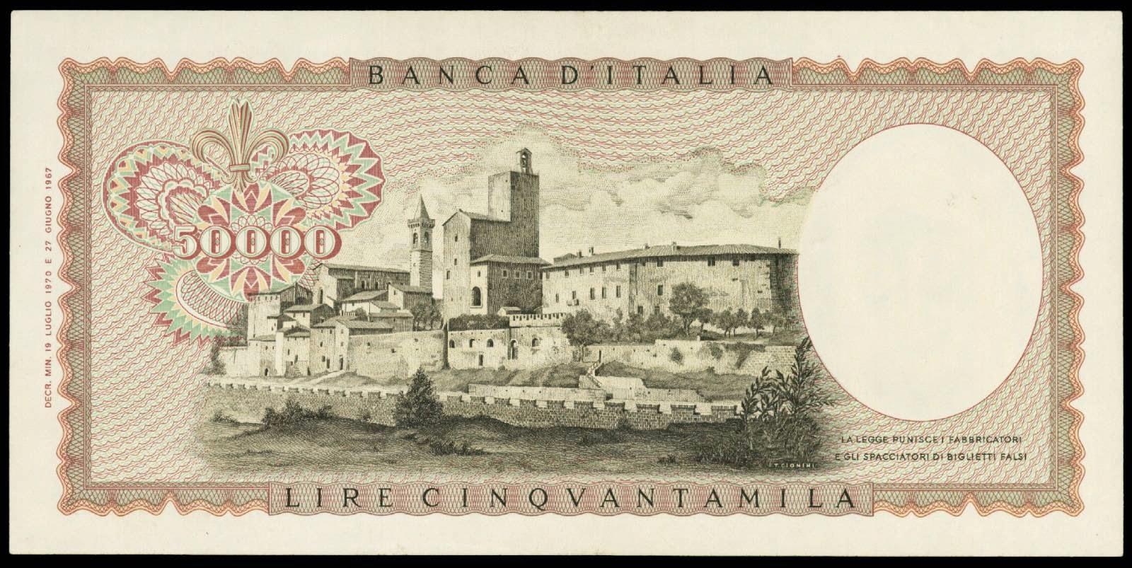 Italy 50000 Lira note 1977