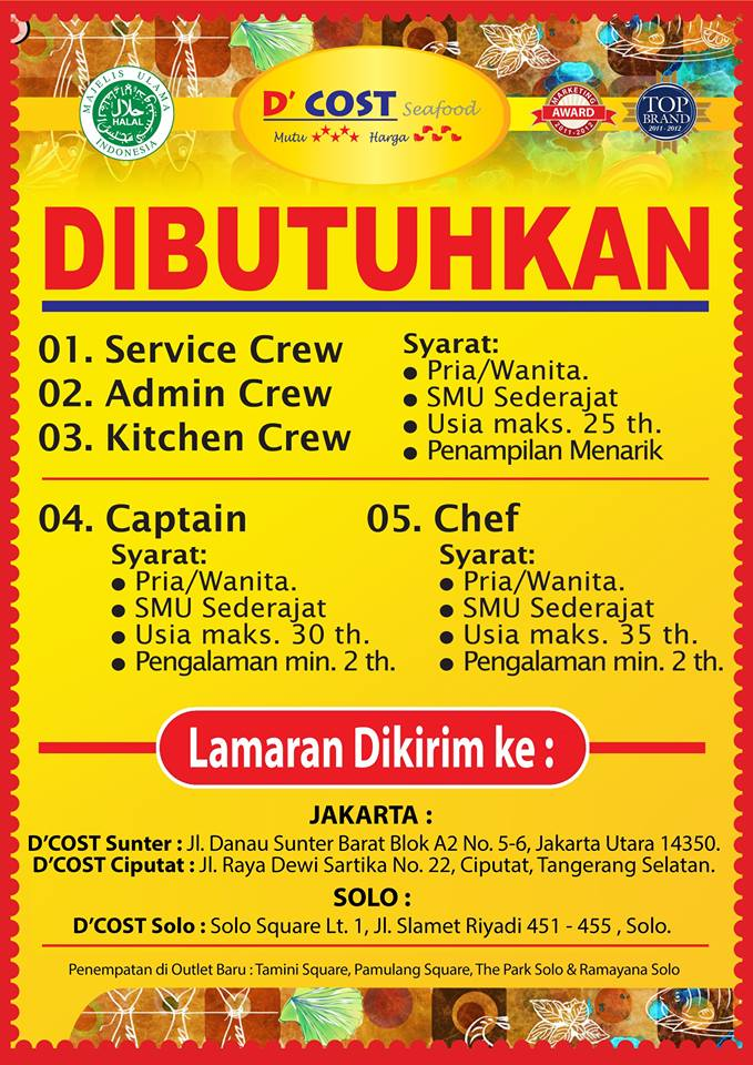 Lowongan Kerja Di D Cost Seafood Di Jakarta Dan Solo Dibacaonline