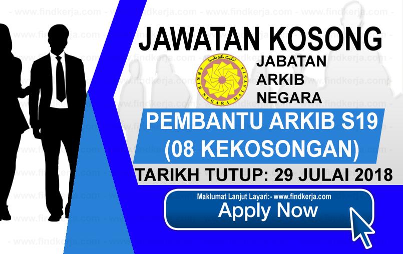 Jawatan Kerja Kosong Jabatan Arkib Negara Malaysia logo www.ohjob.info www.findkerja.com julai 2018