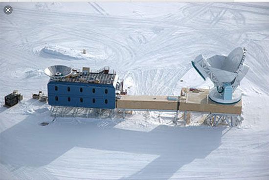 BICEP Observatory on the left and South Pole Telescope on right (Source: South Pole Telescope)