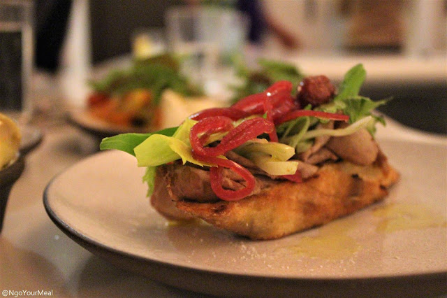 Beef Eye Round, Pickled Red Onion, Roasted Red Grapes, Celery Crostini at Sportello in Boston