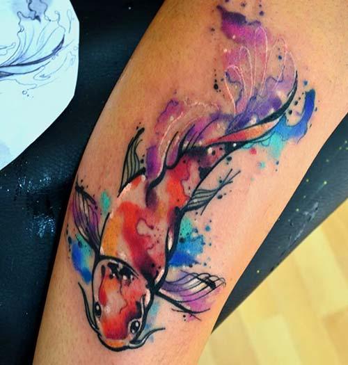 watercolor koi fish tattoos renkli koi balığı dövmeleri