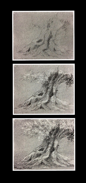 Three steps to creating a small charcoal study work on canson paper by Manju Panchal