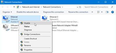 Nonaktifkan network adapters