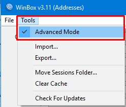 Mengaktifkan Advanced Mode Winbox Mikrotik