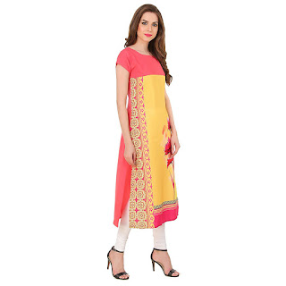 Rs. 499 Crepe Yellow Binny Creation Kurti by FashionDiya