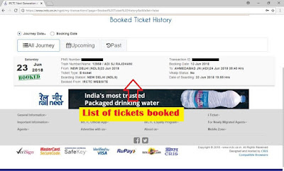 Picute of list of train in ticket booking history