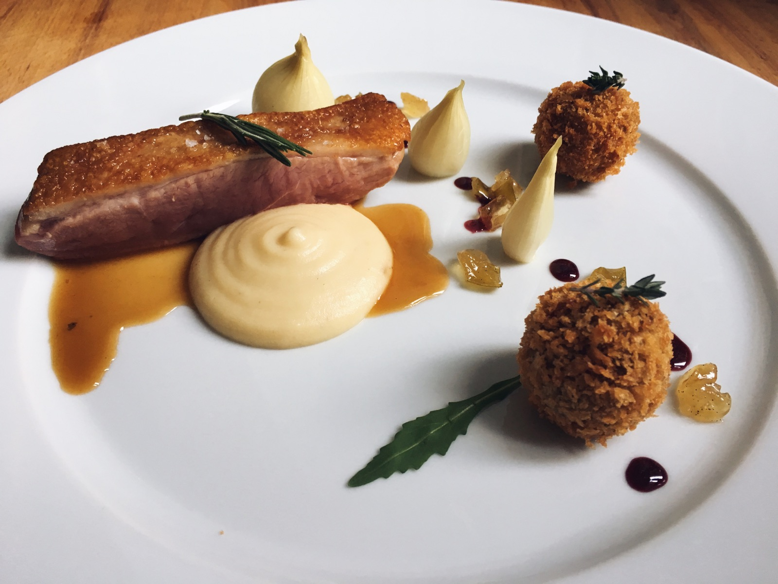 Seared Duck Breast with Smoked Confit Bon Bons