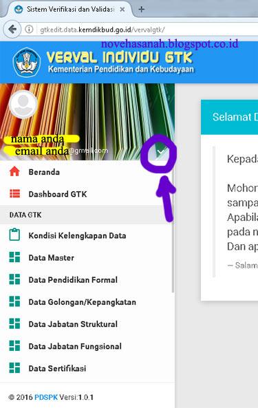 tampilan sisi kiri dashboard akun anda di gtkedit.data.kemdikbud.go.id setelah berhasil login