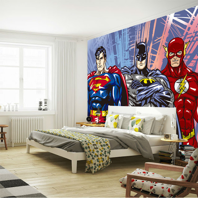 Superhero wall murals 3d wallpaper bedroom mural childrens room 3D comics Photo Wallpaper Kids Boys batman flash superman dc