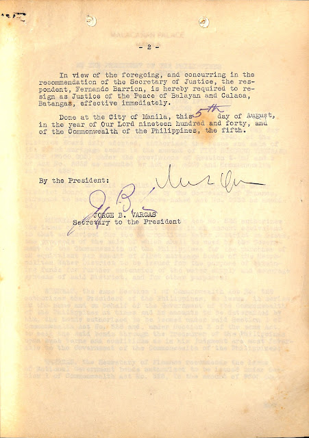 Second page of Administrative Order No. 13 series of 1940.