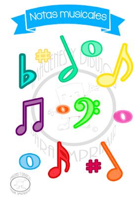 Lámina de las notas musicales para imprimir