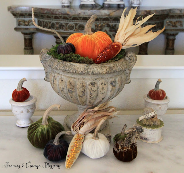 Decorating with Velvet Pumpkins and Corn for Fall