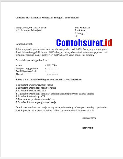 Contoh Surat Permohonan Lamaran Kerja Di Bank Bni Bank Aceh