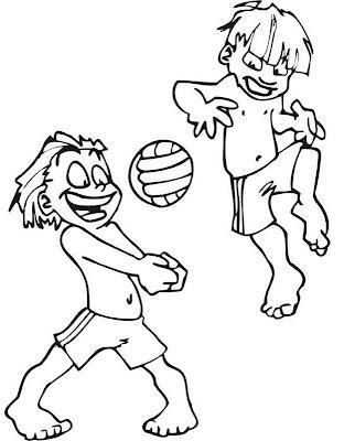 Niños jugando Boleyball ~ 4 Dibujo