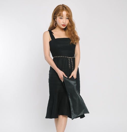 Flounced Self-Tie Strap Dress