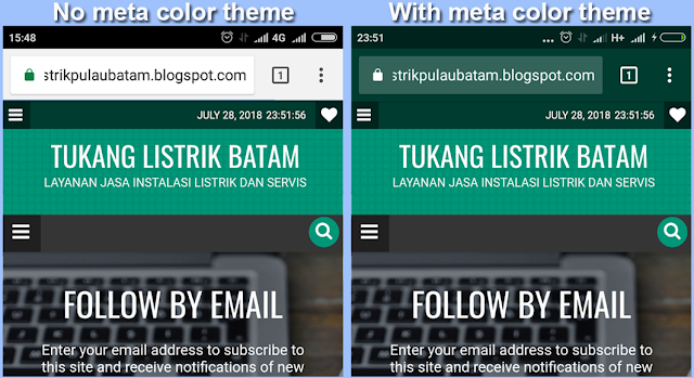 Meta Tag Theme Color Blogger