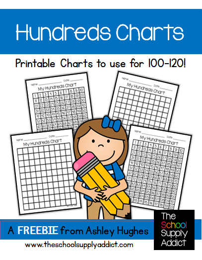 FREE Hundreds Chart Printables from Ashley Hughes
