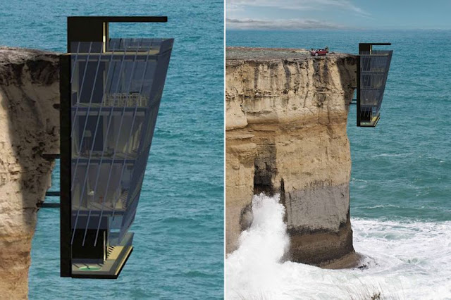 Luxury home with total sea views - because it's pinned to side of a CLIFF