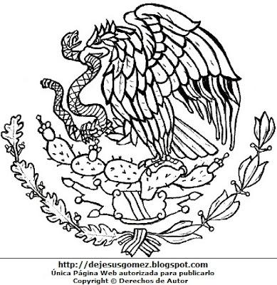 Escudo de México para colorear pintar e imprimir. Dibujo de escudo hecho por Jesus Gómez