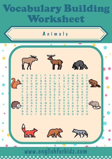 Forest animals word search worksheet - printable ESL materials
