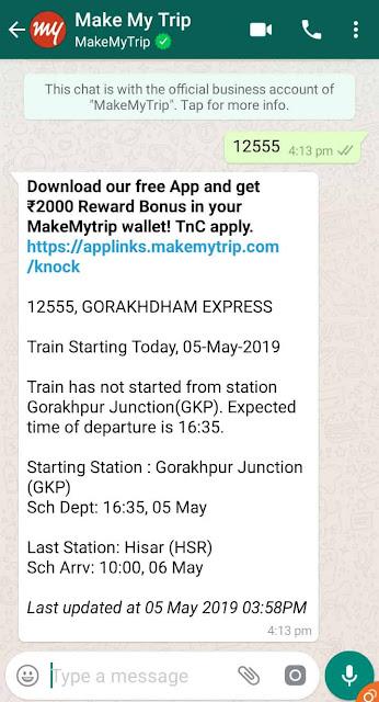 Train Live Status On Whatsapp