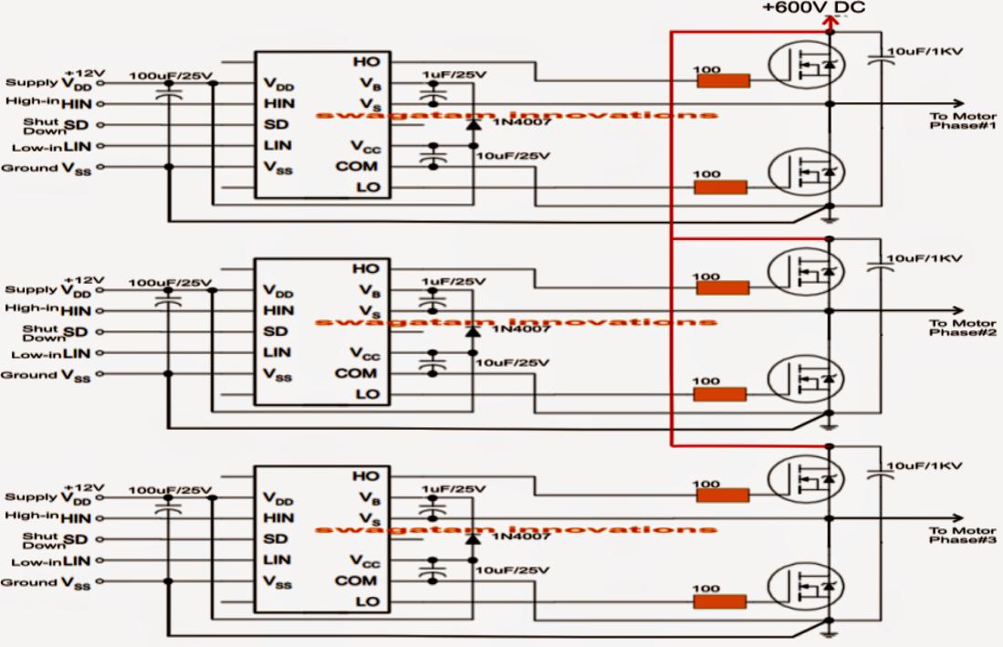 Three Phase Inverter Circuit   Circuit Diagram Centre